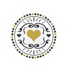 black and golden hand drawn circle heart sign vector image