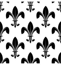 Black and white seamles fleur de lys pattern vector image