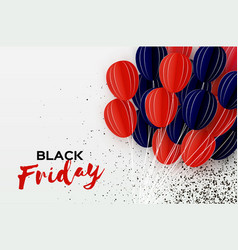 black friday sale banner balloons in paper cut vector image