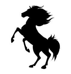 Black horse prancing silhouette vector image