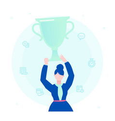 businesswoman with a prize - flat design style vector image