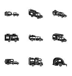 Camping motorhome icon set simple style vector