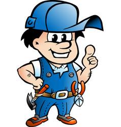 Cartoon an happy handyman giving thumbs up vector