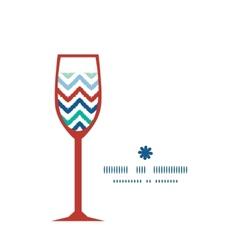 Colorful ikat chevron wine glass silhouette vector