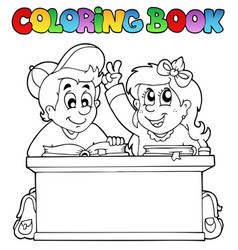 coloring book with two pupils vector image
