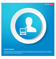 computer user icon abstract blue web sticker vector image