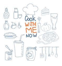 Cook with me now doodle style vector