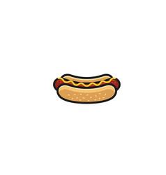 creative delicious hotdog logo design symbol vector image