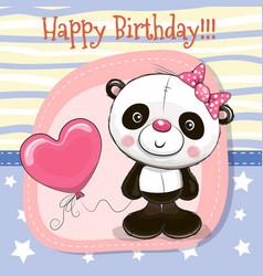 Cute cartoon panda with balloon vector