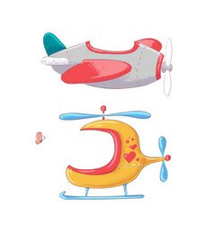 cute cartoon set air transport vector image