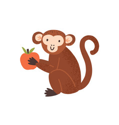 Cute childish monkey sit and hold apple in little vector