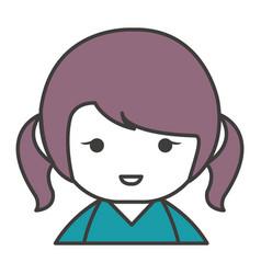 Cute little japanese doll vector