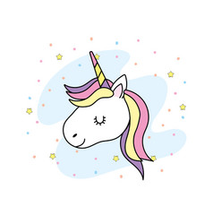Cute unicorn head with horn and hair design vector