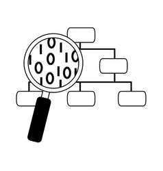 Data analysis organization chart magnifier vector