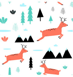 deer and forest pattern vector image