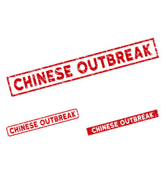 Distress chinese outbreak rectangle seals vector
