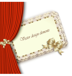 elegant invitation with gold bow and red curtain vector image