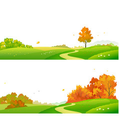 Fall landscape banners vector