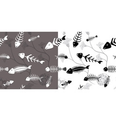 Fish skeleton seamless vector image
