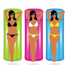 Girl in bikini sensual on mattress set vector