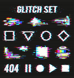 Glitch set on black background vector