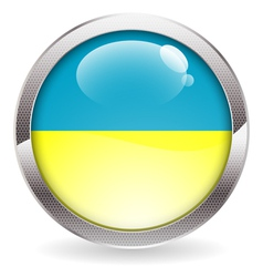 Gloss Button with Ukraine Flag vector image
