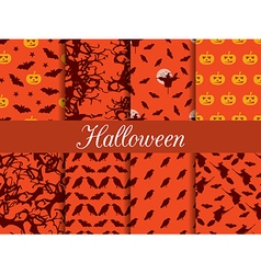Halloween seamless patterns set vector