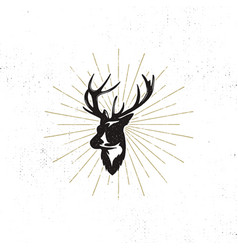 hand drawn deer s head label vintage black vector image
