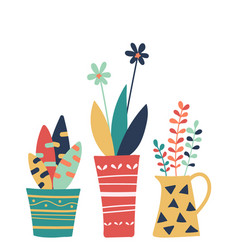 Hand drawn of colorful flowers pot isolated vector