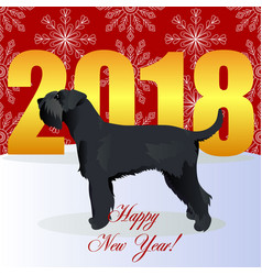 happy new year card with schnauzer vector image