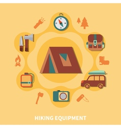 Hiking Equipment For Tourists vector image