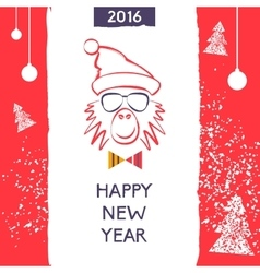 Hipster christmas red fire monkey Hand drawn vector