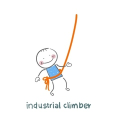 Industrial climber hanging on a rope vector