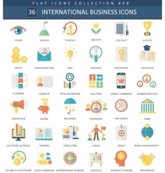 International business color flat icon set vector