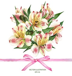 Invitation card with Alstroemeria flowers vector