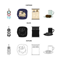 Isolated object of dreams and night sign set of vector