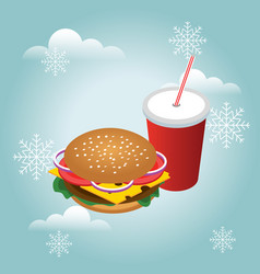 Isometric hamburguer with coke soda with straw vector