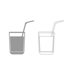 Juice glass with drinking straw grey set icon vector