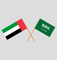Kingdom of saudi arabia and uae flags vector