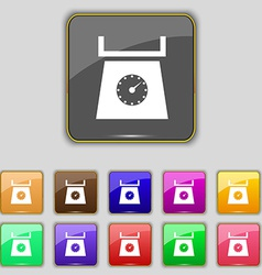 kitchen scales icon sign Set with eleven colored vector image