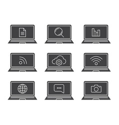 laptop apps glyph icons set vector image