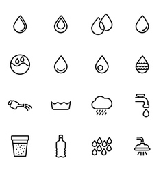 Line water icon set vector