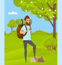 man hiking green nature travel hob vector image