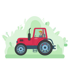 Man is driving tractor on road near meadow vector