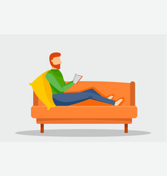 man reading book at sofa banner horizontal flat vector image