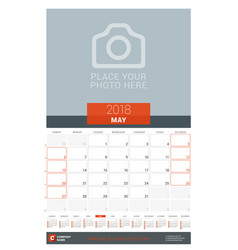May 2018 wall monthly calendar planner for 2018 vector