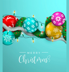 merry christmas card with xmas lights and baubles vector image