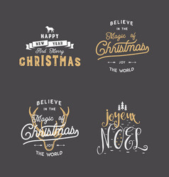 Merry christmas typography quotes wishes set vector