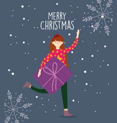 merry christmas woman with sweater and gift box vector image