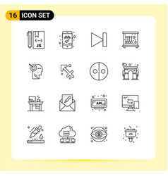 Modern set 16 outlines pictograph precision vector